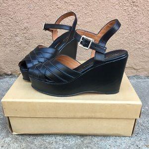 Re-mix 1940s Style Black Platform Sandal Lido Sz 6